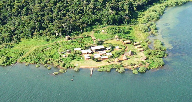 Birds eye view of the Ngamba Island and Chimpanzee Sanctuary
