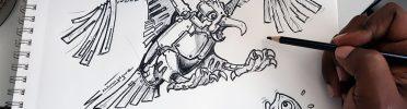 Concept Robo Fishing Eagle Drawing
